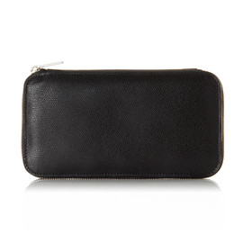 Valextra - Round Zip Wallet 6cc Black Rhodium Plating