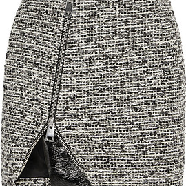 Bouchra Jarrar - Wool-blend tweed and faux patent-leather mini skirt