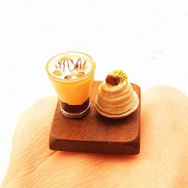 SouZouCreations - Miniature Food Ring Chestnut Cake  Coffee