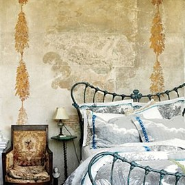 Anthropologie - A montage of landscape etchings and delft-like china patterns, stitched with embroidery and crafted of luxe cotton sateen.