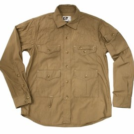 Engineered Garments - Angler Shirt Khaki Khaki Poly/Cotton Poplin