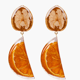 KENZO - Walnut Orange Resin Earrings