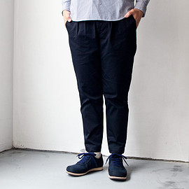 ordinary fits - 【Men's&Ladies'】ordinary fits / Tuck trouser strech chino : navy