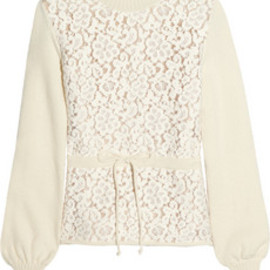 Chloe - Chloé  Floral-lace and wool-blend sweater