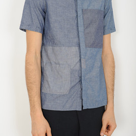 LAD MUSICIAN - 2013 S/S LAD MUSICIAN DUNGAREE FLY FRONT S/SL SHIRT INDIGO MIX