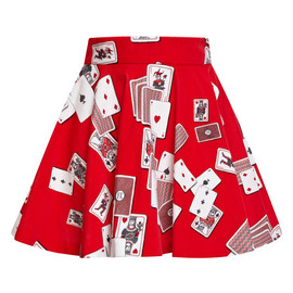 OLYMPIA LE-TAN - Red Dynamo Playing Cards Velvet Mini Skirt