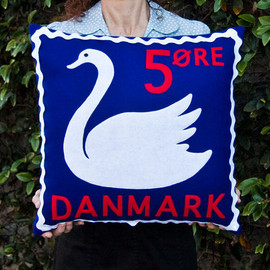 Touch Wood Design - Danish swan stamp cushion cover