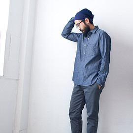 Manual Alphabet - Manual Alphabet / Change collar chambray pullover shirts : navy