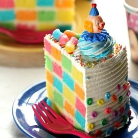 masam manis - Checkered Rainbow Cake