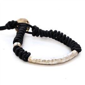 Chan Luu - Black Knotted Leather Bracelet with Silver Novelty Bead