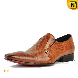 cwmalls - Cwmalls Mens Embossed Leather Dress Loafers CW750056