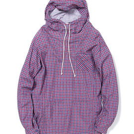 nonnative - HIKER HOODED SHIRT - C/R BROAD WINDOW PEN CHECK (NAVY)