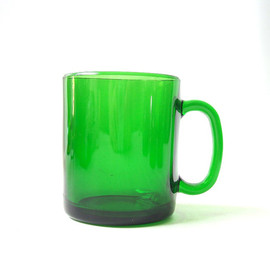 duralex - vintage green glass coffee mug france duralex