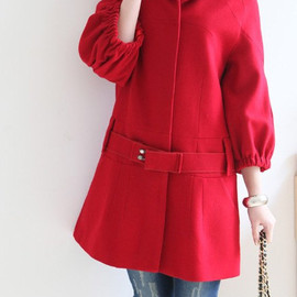 etsy - Stand-up collar Covered button Wool coat
