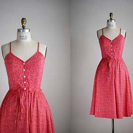 70s dress / 1970s floral cotton sundress / Sweet Cherry dress