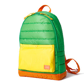 "HEAD PORTER - ""RUKA"" DAY PACK GREEN/ORANGE"
