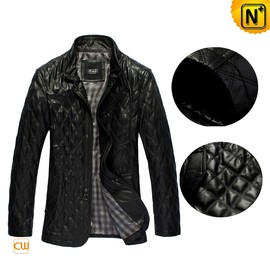 CWMALLS - Mens Black/Brown Quilted Leather Coat CW880092 - CWMALLS.COM