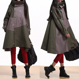 etsy - Army green hooded jacket casual relaxed atmosphere stitching  Coat
