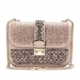 VALENTINO - GLAM LOCK EMBELLISHED SHOULDER BAG