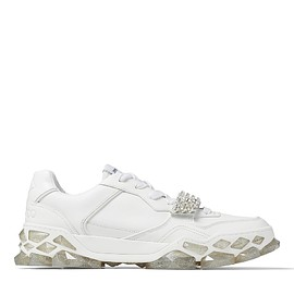 JIMMY CHOO - DIAMOND X STRAP/M X White Calf Leather Low Top Trainers with Crystal Strap