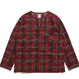 South2 West8 - Henley Neck Shirt-Batik Over Print-Red