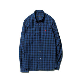 SOPHNET. - SCORPION EMBROIDERY INDIGO TYPE WRITER CHECK B.D SHIRT