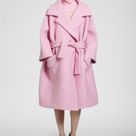 Carven - Pink boiled wool belted coat with strips of pink alpaca on back