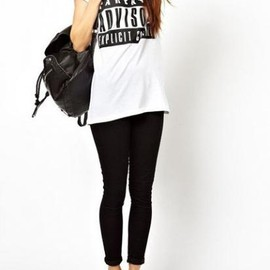 ASOS エイソス - Roll Sleeves T-shirt With Letter Print