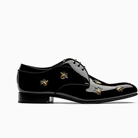 DIOR HOMME - Black varnished calfskin derby shoes with bee signature