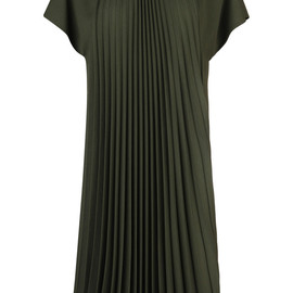Bouchra Jarrar - FW2014 Dark Olive Viscose Crepe Inverted Sunburst Pleat Dress