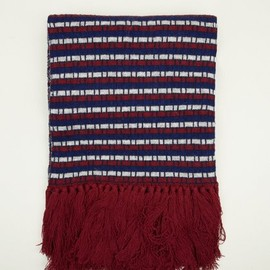 White Mountaineering - Mens' Burgundy Block Scarf