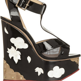 Charlotte Olympia - FW2014 Jasmine patent-leather and mother-of-pearl wedge sandals