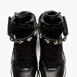 GIVENCHY by Riccardo Tisci - BLACK LEATHER STAR TYSON HIGH-TOP SNEAKERS