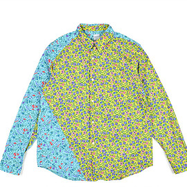 NEPENTHES NEW YORK - Loftman Exclusive Twisted Shirt-Blue×Yellow