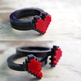 Nastalgame - Pixel Heart Acrylic Ring for couple