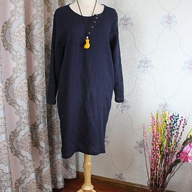 dress with pockets - Loose Fitting linen dress, Women Long Dresses, linen dress with pockets