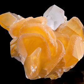 pretty color and crystal structure! - Orange Calcite and Quartz points.