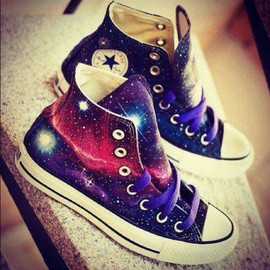 CONVERSE - Custom painted galaxy shoes