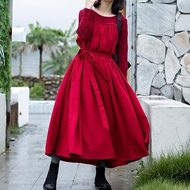 dress - Maxi Dress in red, womens Dress, linen Maxi Dress, Loose Fitting red Dress