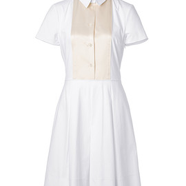 JIL SANDER NAVY - White/Cream Textured Cotton Blend Dress