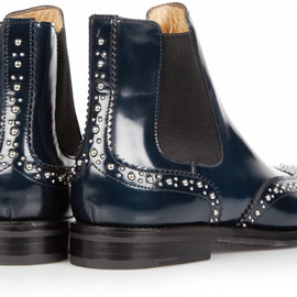 Church's - Church's Ketsby Studembellished Leather Ankle Boots in Blue