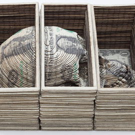 Scott Campbell - Skull Cube, 2010, Cut US currency 9x6x4 inches