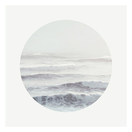 moongardenart - SALE 20% - Ocean Photography - Nature Fine art Print - Minimalist Seascape - Wave - White - Circular photo - Wall Art - Sea Breath (Grey)