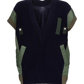 sacai - Paneled cotton-blend sweater vest