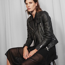 Barneys New York - Barneys New York Leather Quilted-Yoke Moto Jacket