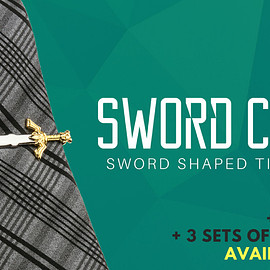 The Key Armory - Sword Clips - Sword Shaped Tie Clips