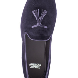 American Apparel - Velvet Tassel Loafers Dark Navy