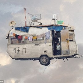 flying houses - Happy campers: It's not just houses that the artist depicts. This work shows a caravan soaring among the clouds