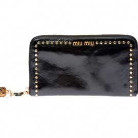 miu miu - 【'12Fall-Winter】Miu Miu Calf leather wallet with bronze details in Black 1