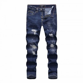 Philipp Plein - Philipp Plein SS2018 Mens Long Jeans Graffite Holes Navy Blue